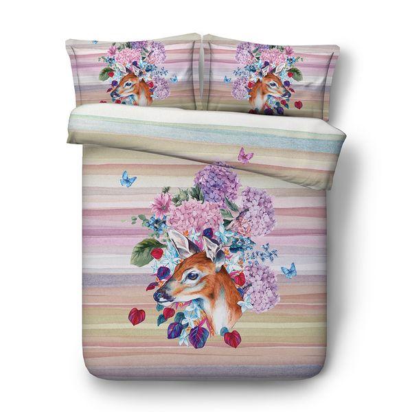 Christmas Deer Print Decorative 3 Piece Bedding Set Elk Duvet Cover Sets 2 Pillow Shams Antler Decor Animal Skull With Flowers Feathers
