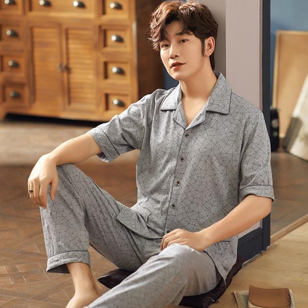 CherLemon Men Summer Pajama Set Geometric Lines Short Sleeve Button Turn Down Collar 100% Cotton Sleepwear M-4XL Cozy Homewear
