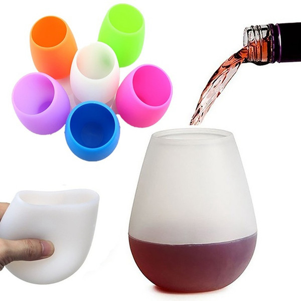best selling Silicone Wine Glass Silicone Unbreakable Stemless Rubber Beer Mug Outdoor Cup Glass Wine Glass Recyclable Drinking Cups RRA2300