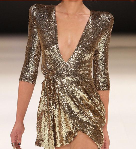 Robe pour femme 2019 nouvelle mode serré col V robes sexy de style discothèque de style discothèque doré noir couleur en option taille S-XL