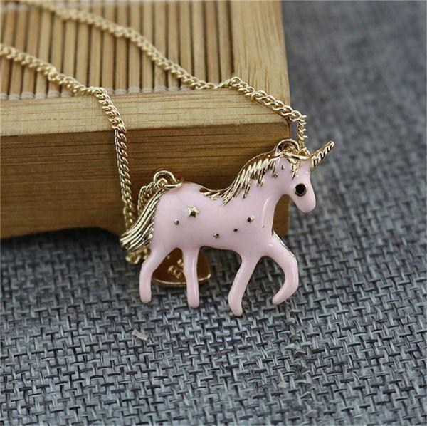 Atacado banhado a ouro Cloisonne Esmalte Pingente Pink Pony camisola cadeia Four Seasons Luxury Designer Jóias