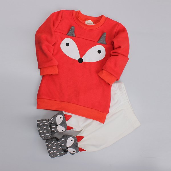 Winter warm Girl Kids clothing Outfits Mirco velvet Fox thick Sweatshirt+ pant 2pcs/set Red 1-4years Cheap Wholesale