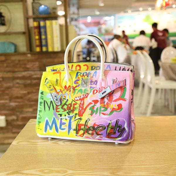 2020 Yüksek Kalite El yapımı grafiti Avrupa Amerika Renkli el yapımı platin paket toka çanta deri el omuz çantası