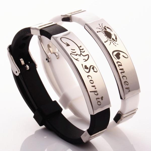 Bracelet en acier inoxydable caoutchouc hommes 12 Constellations Blanc Noir Bracelet en Silicone Bracelets Signe du Zodiaque Manchette Bijoux pour Femme Amoureux Cadeaux