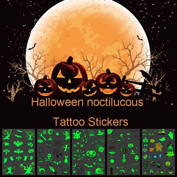 Halloween luminoso luminoso tatuaje pegatina calabaza fantasma resplandor en la oscuridad pegatina resplandor tatuaje temporal pegatina fiesta suministros DBC VT0718