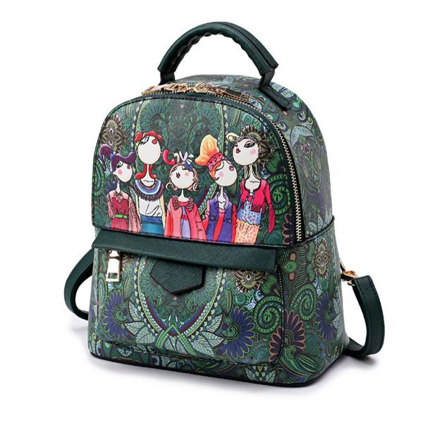 2019 Designer Printing Bags High Quality Big Small Shoulder Bags Female Handbag Green Cartoon Shoulder Bags 672