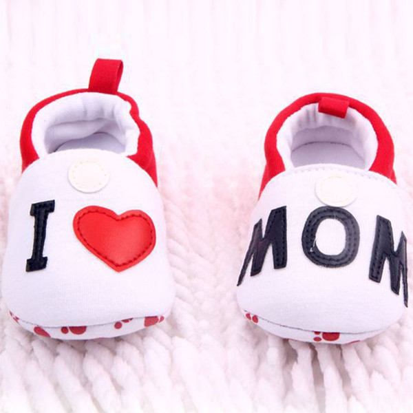 Baby shoes Cute Toddler First Walkers Round Toe Flats Soft Slippers Shoes I Love MOM/DAD