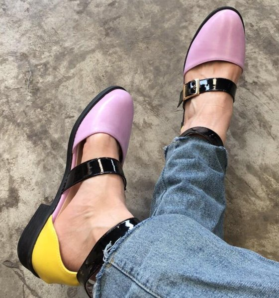 Baotou Women Rome Sandals Double Belt Buckle Sexy Ladies Flat Chunky Heel Low Heel Fashion Female Casual Shoes
