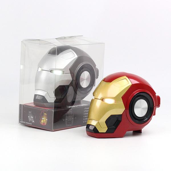 2019 NEW Gute Iron Man BT Speaker Ironman Christmas Kid Gift LED Flashing Light Boombox MP3 Music Mini Bluetooth Radio Bocina 2PCS DHL