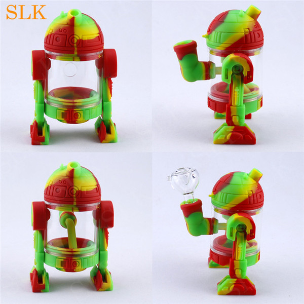 New smoking accessories silicone bong tobacco dry herb smoking pipes 14mm glass down stem joint dab rig glass bubbler hookah shisha pipe