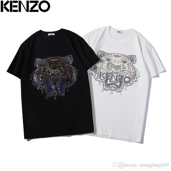 e7e0d0ca039c 2019 new fashion tiger head heavy work hot drilling men and women with the  same paragraph short sleeve T