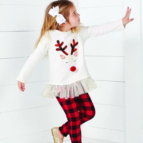 Vêtements Automne vêtement enfants Fawn Jupe Pantalons rouge treillis Twinset Noël argent Fille de costume