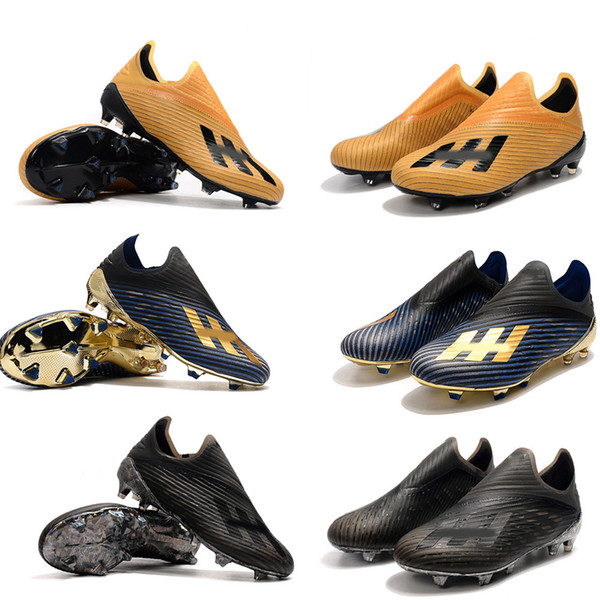 Chaude X 19+ FG Haute Qualité atmosphère Hommes Soccer Crampons Chaussures Sans Lacet 302 Redirect Pack Marine Noir Or Football Bottes Taille 39-45
