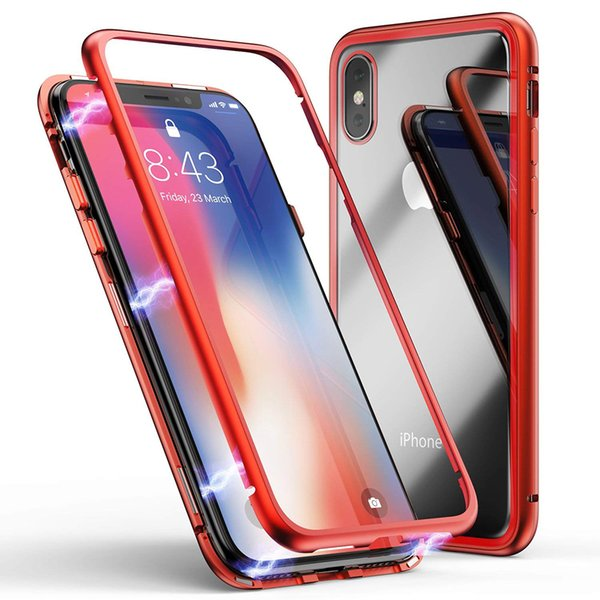 Magnetic Adsorption Metal Bumper Cellphone Case For iPhone Xs Max X Xr 7 8 Plus 6G 7G For Samsung S9 S9plus Note9 Cover