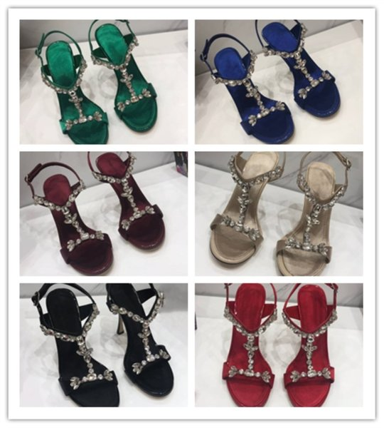 Zapatos de mujer de lujo de edición superior Piel de vacuno importada buen material adorno de diamante de cristal Sandalias de tacón alto para mujeres