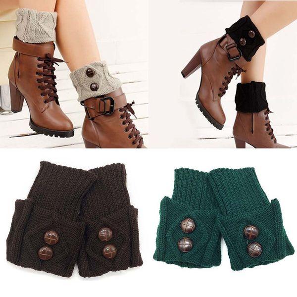 Compre Las Mujeres De Punto Calentador De La Pierna Bota Corta Puños Botones Crochet Arranque Calcetines De Punto Polainas Para El Otoño Invierno A