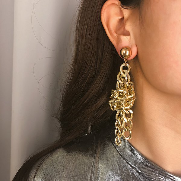 Europeus e Americanos jóias Personalidade moda geométrica corrente de alumínio brincos feminino Exagerado punk simples brincos de cadeia atada
