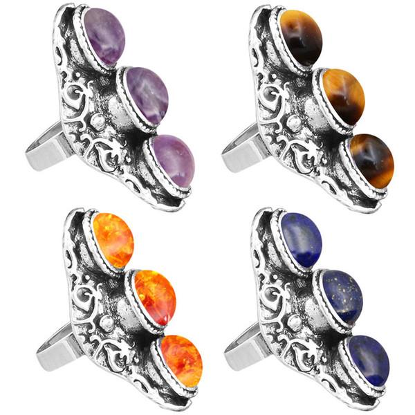 Anneaux de mode ajustables bijoux naturels de quartz oeil de tigre améthystes anneaux pour les femmes antique argent plaqué trois pierre réglable bijoux de mode T ...