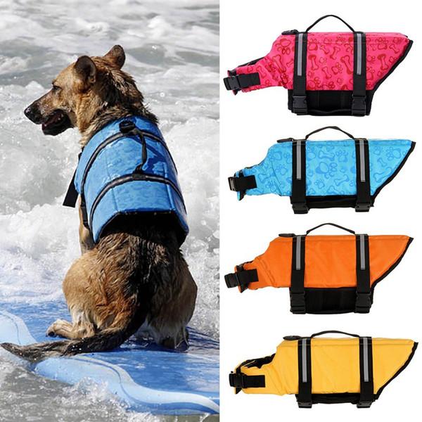 Pet Summer Reflective Badeanzug mit D-Ring für Leine, Dogs Bones Patterns Life Jacket Orange / Gelb / Hellrot / Blau
