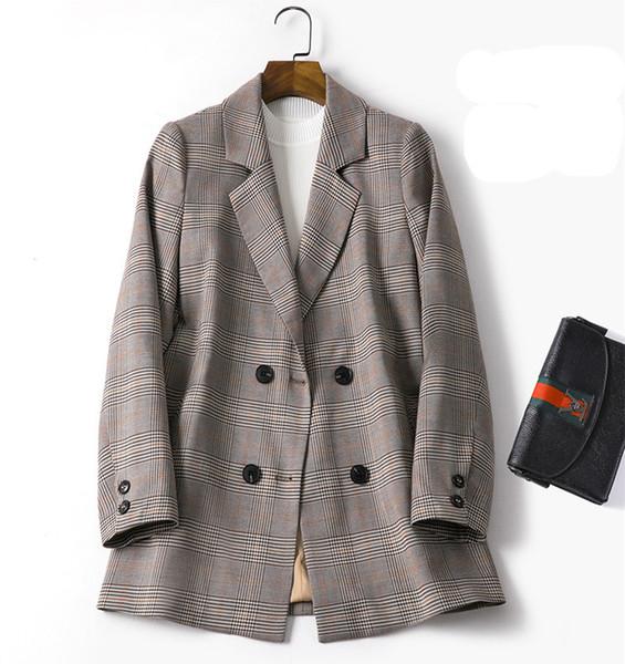 Arbeiten Sie Weinlese zweireihiger Blazer Plaid Frauen lange Hülsen-dünne Blazer 2019 beiläufige Herbst-Klage-Jacken-Mantel Weiblich