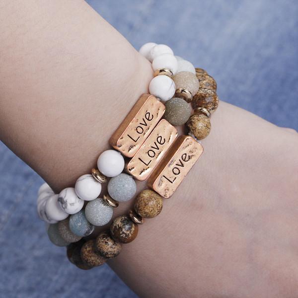 "Hammered Bar Bracelet Engraved ""Love"" Bracelets Inspirational Handmade Beaded Gemstone Bracelet White Marble Unisex Stretch Bracelet"