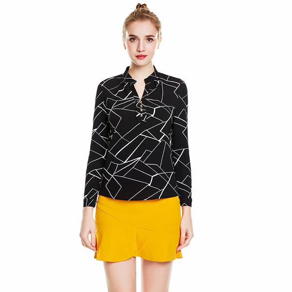 ePacket shipping European Design Lady Fashion Blouses Women V-neck Chiffon Shirt Long Sleeve Tops Plus Size S-4XL
