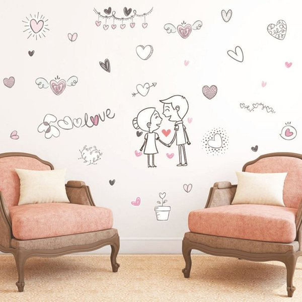 Valentine\\\'S Day Wall Sticker Cartoon Couple Love Self Adhesive Paper Girl  Bedroom Doodle Home Decor Wallpaper Environmental New Childrens Wall Decals  ...
