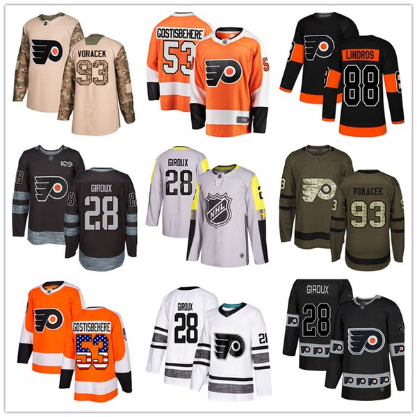 best selling Custom Philadelphia Flyers Jerseys Eric Lindros Claude Giroux 9 Ivan Provorov 53 Gostisbehere 93 Voracek 11 Konecny USA Flag Hockey Jersey