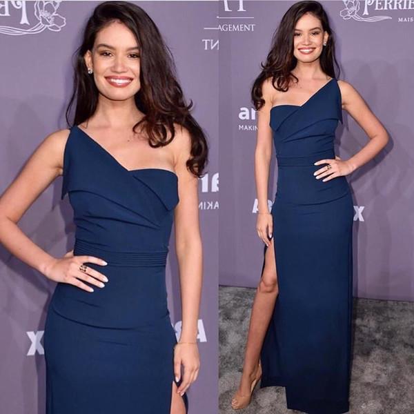 Elegante Navy Blue guaina Prom Dresses una spalla Backless alta Split Side sweep treno formale abito da sera abiti robe de soiree