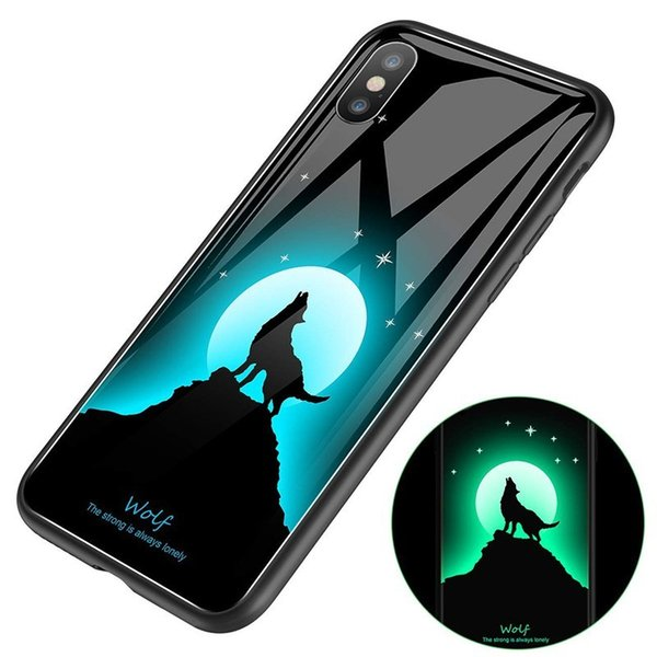 Night Luminous Light Hard Tempered Glass Back Cover Soft TPU Cell Phone Cases For Iphone XS Max X 8 7 Plus Mobile Shell