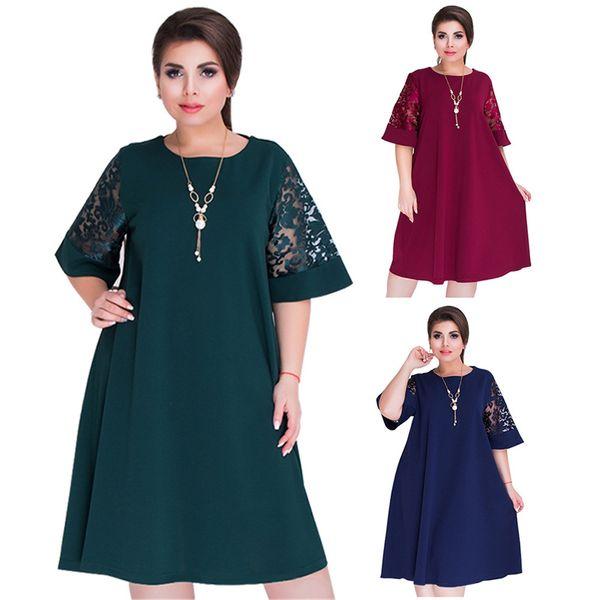 5XL 6XL 2019 new Patchwork Loose Long Dress Maxi spring summer Big Sizes Women Dress Plus Size Long Sleeve O-neck Casual Dresses 0971