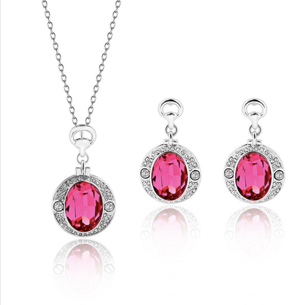 Elegant and exquisite Rose necklace earrings jewelry sets for women best gift 12sets min order free shipping 61152273