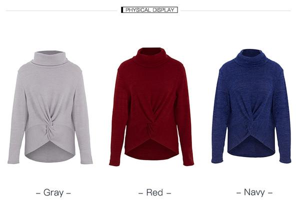 Maglione donna Maglione invernale caldo Top elegante croce manica lunga tinta unita collo alto abiti casual rosso blu navy grigio
