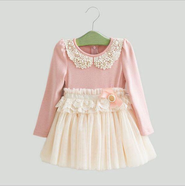 Autumn/winter/spring Children Dress Korean Pearl Pure Cotton Net Yarn Girls Lace Dress 2-7Year Kids Clothing 5p/l