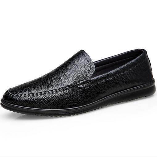 Erkek ilk katman deri yumuşak alt yumuşak deri iş rahat ayakkabılar erkek sürüş ayakkabı