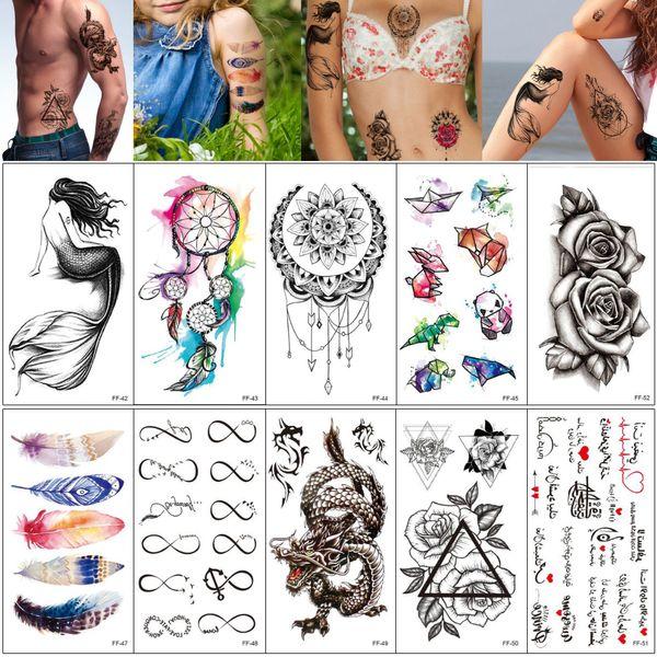 Fake Black Temporary Tattoo Sticker Mermaid Dreamcatcher Cat Feather Dragon Designs Body Art Tattoo for Woman Man Water Transfer Paper FF#02