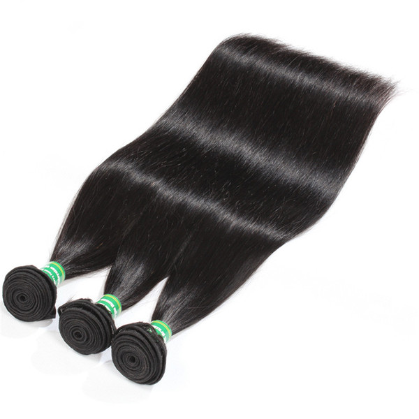 Brazilian Virgin Human Hair Straight 3 Bundles 8-28 inches Grade 8A Peruvian Remy Hair Extension Wefts Natural Black Color