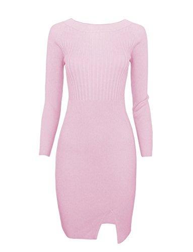bc6f2c91e55 TAM Ware Women Stylish Slim Fit Knit Sweater Boat Neck Bodycon Dress ...