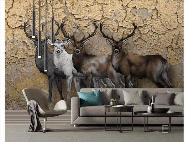 Custom 3d photo murals wall paper home decor European nostalgic 3D stereo elk living room TV sofa background wall painting papel de parede