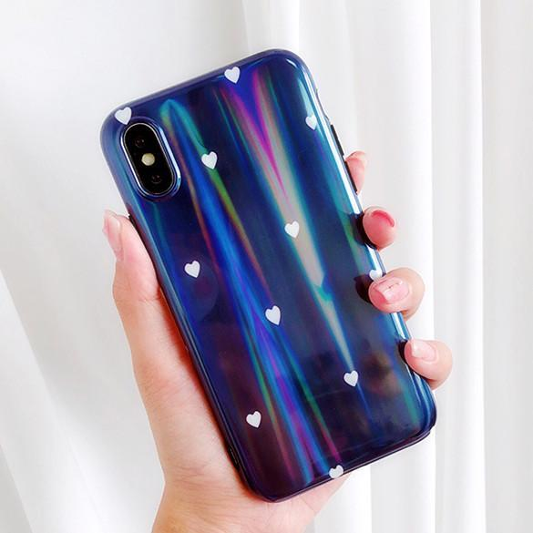 3D Luxury Designer Holo Heart Phone Case for Iphone X Xs MAX XR 10 8 7 6 6s Plus 8plus 7plus Cover Shell Soft Silicon Bumper Hologram Case