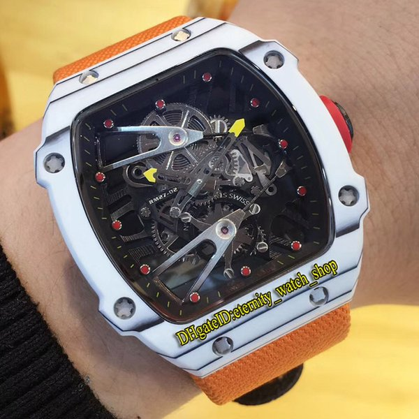 High version Luxry RM27-02 Nadal Skeleton Dial Carbon Fibre Case Japan Miyota Automatic Mens Watch Orange Nylon Leather Strap Sport Watches