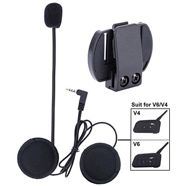 Microphone Headphone Hard Cable Headset & Clip Accessory for V6V4 Motorcycle Helmet Bluetooth Interphone Motorbike Intercom