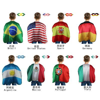 World Cup Flags 70*70cm USA Italy Germany National Flag Cloak Capes Cosplay Party Celebrate Decoration Supplies