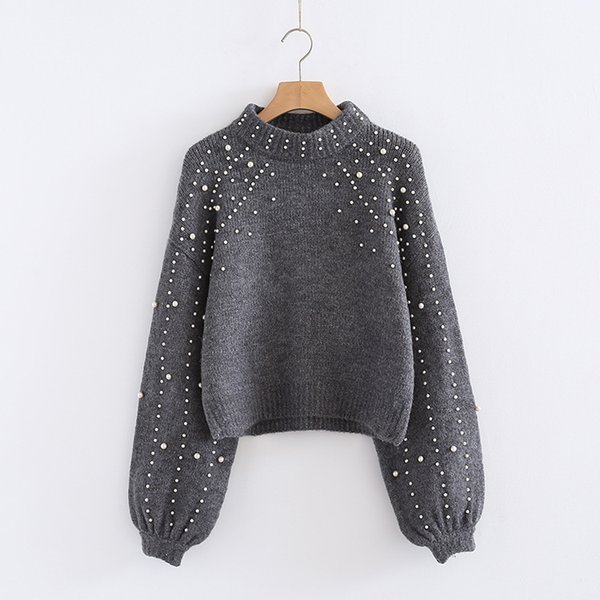 2019 Spring New Pattern Korean Pearl Decoration Hubble-bubble Half Sleeve High Lead Pullover Knitting Sweater free shipping