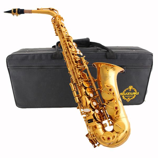 Japan Alto Saxophone SUZUKI LAS-1000 Eb saxofone Electrophoresis gold sax Professional musical instruments with Case mouthpiece free shippin
