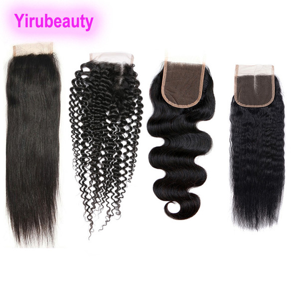 Brazilian 4 X 4 Lace Closure Kinky Curly Straight Hair Body Wave Kinky Straight Human Hair 8-20 Inch Lace Closure Hair Extensions