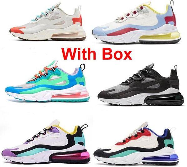 2019 React With Box BLEU VOID DROIT VIOLET ELECTRO VERT LAGUNE HYPER ROSE HYPER Femmes Hommes Avec Box Chaussures de course sneakers Chaussures de sport