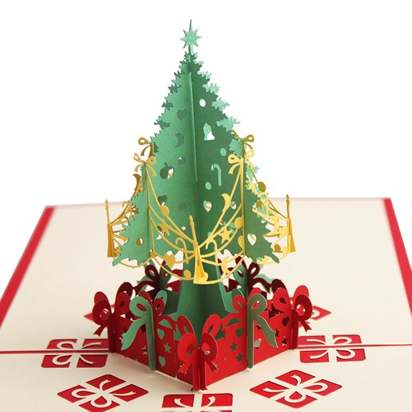Laser Cut 3D Christmas Tree Pop Up Card Xmas Decoration Gift Paper Craft Handmade Thank You Card New Year Greeting Cards JK364