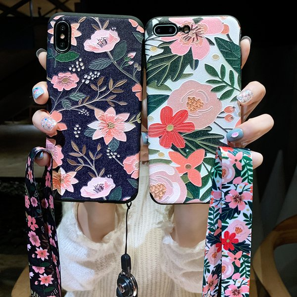Embossed Fresh Flower Colourful Blooming Case for iPhone X Beautiful Soft TPU Ultra-Thin Slim Fit Floral Flexible Full Protection Cover