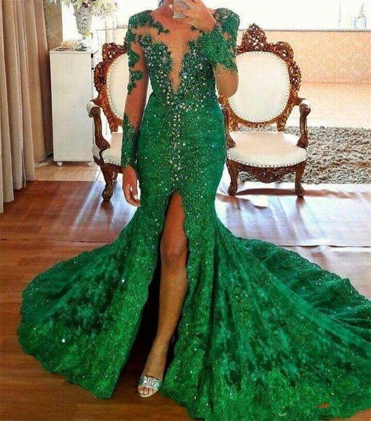 Sexy Emerald Green High Split Evening Dresses Long Sleeves Crystal Beaded Vestido de Fiesta 2018 Lace Prom Dress Customize Made